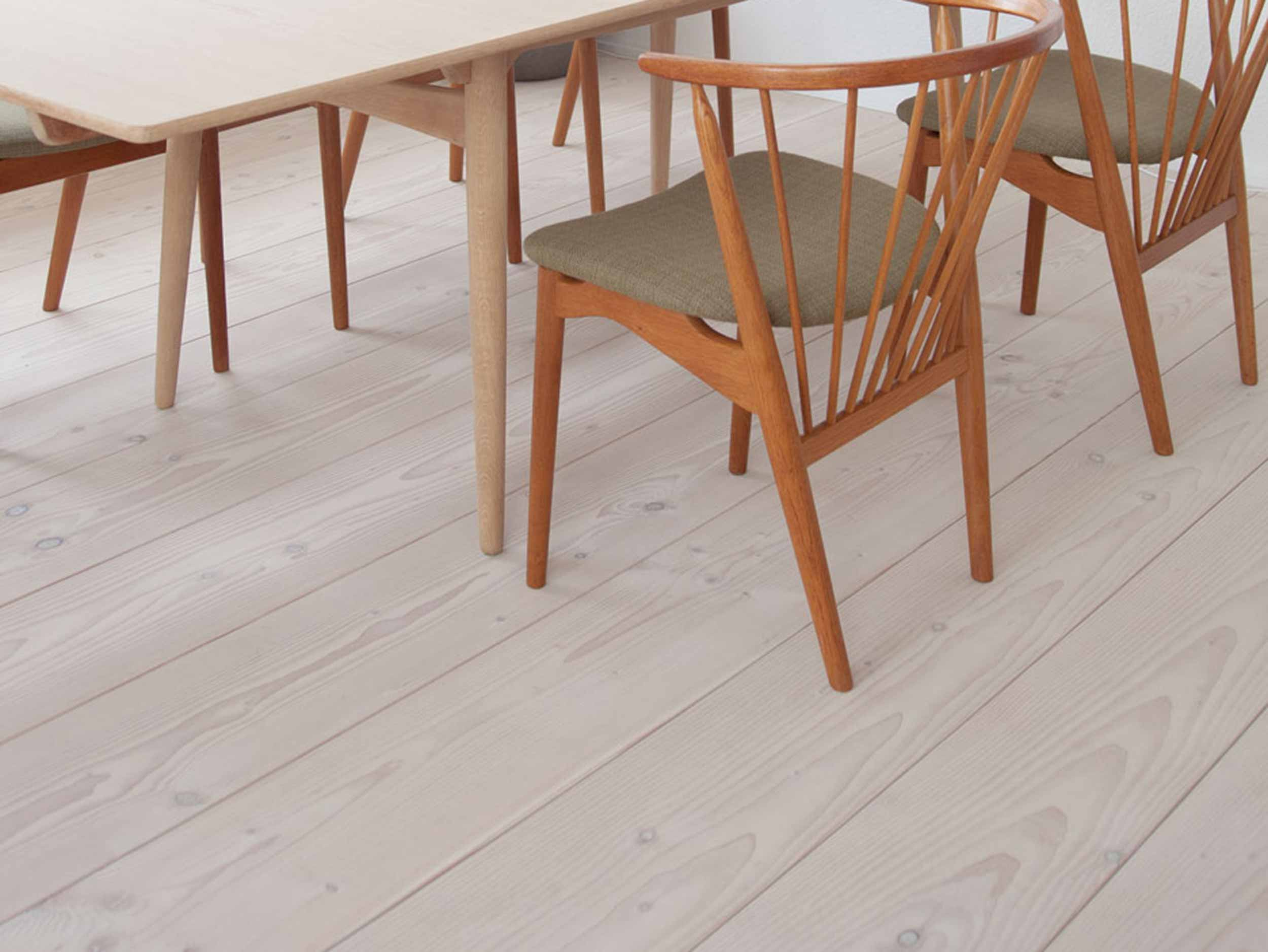 Douglas fir plank flooring - white washed with white Lye & white Soap